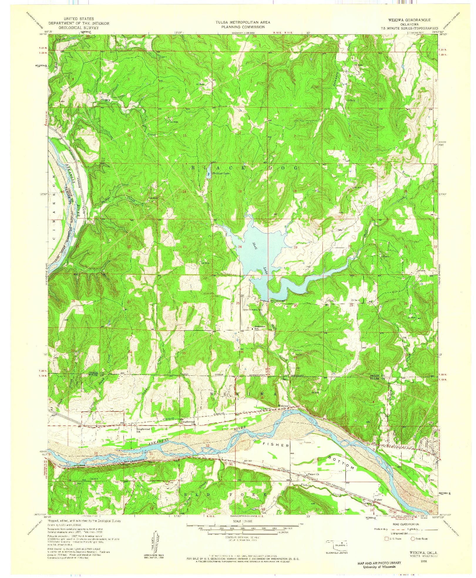 USGS 1:24000-SCALE QUADRANGLE FOR WEKIWA, OK 1958