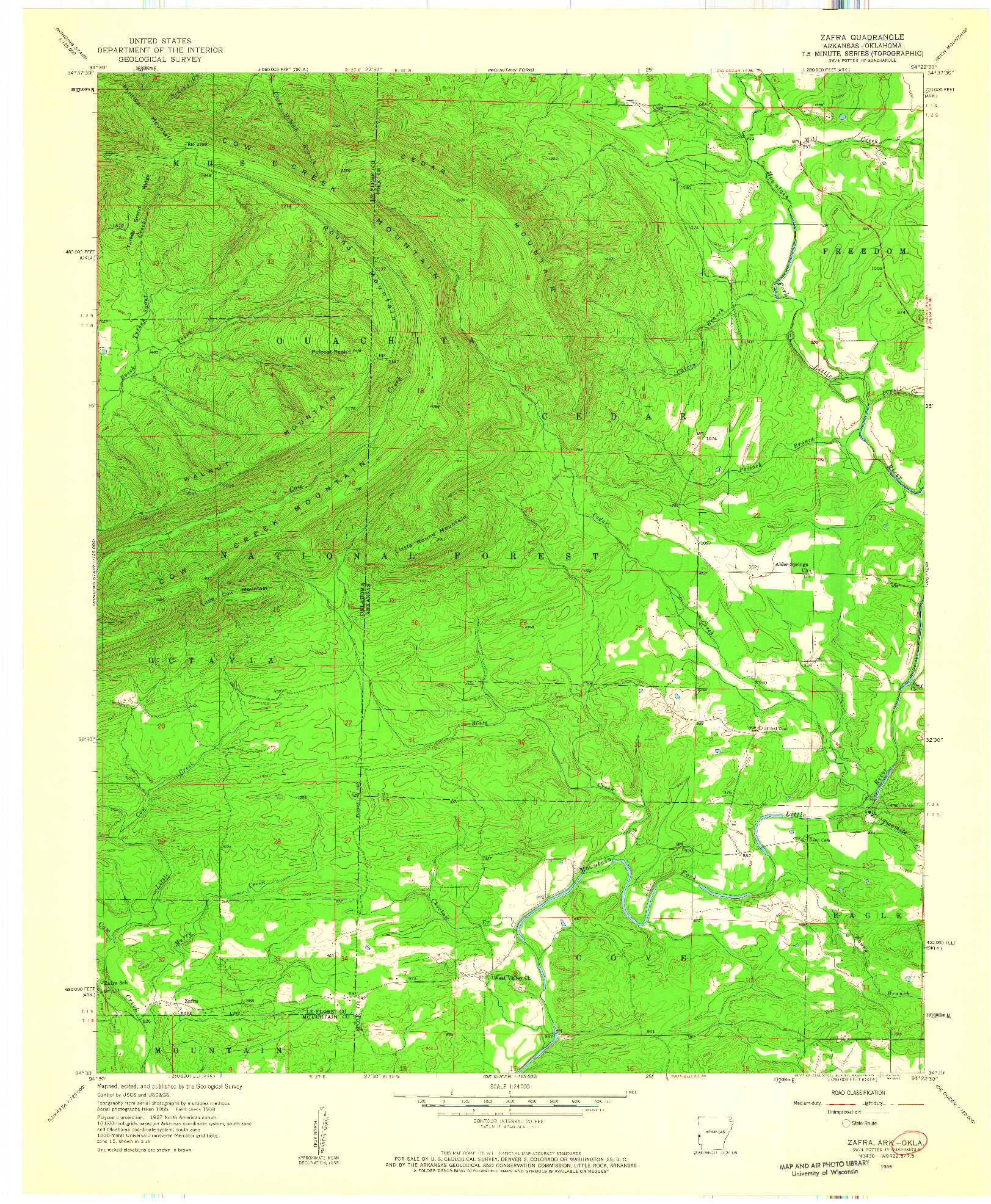 USGS 1:24000-SCALE QUADRANGLE FOR ZAFRA, OK 1958