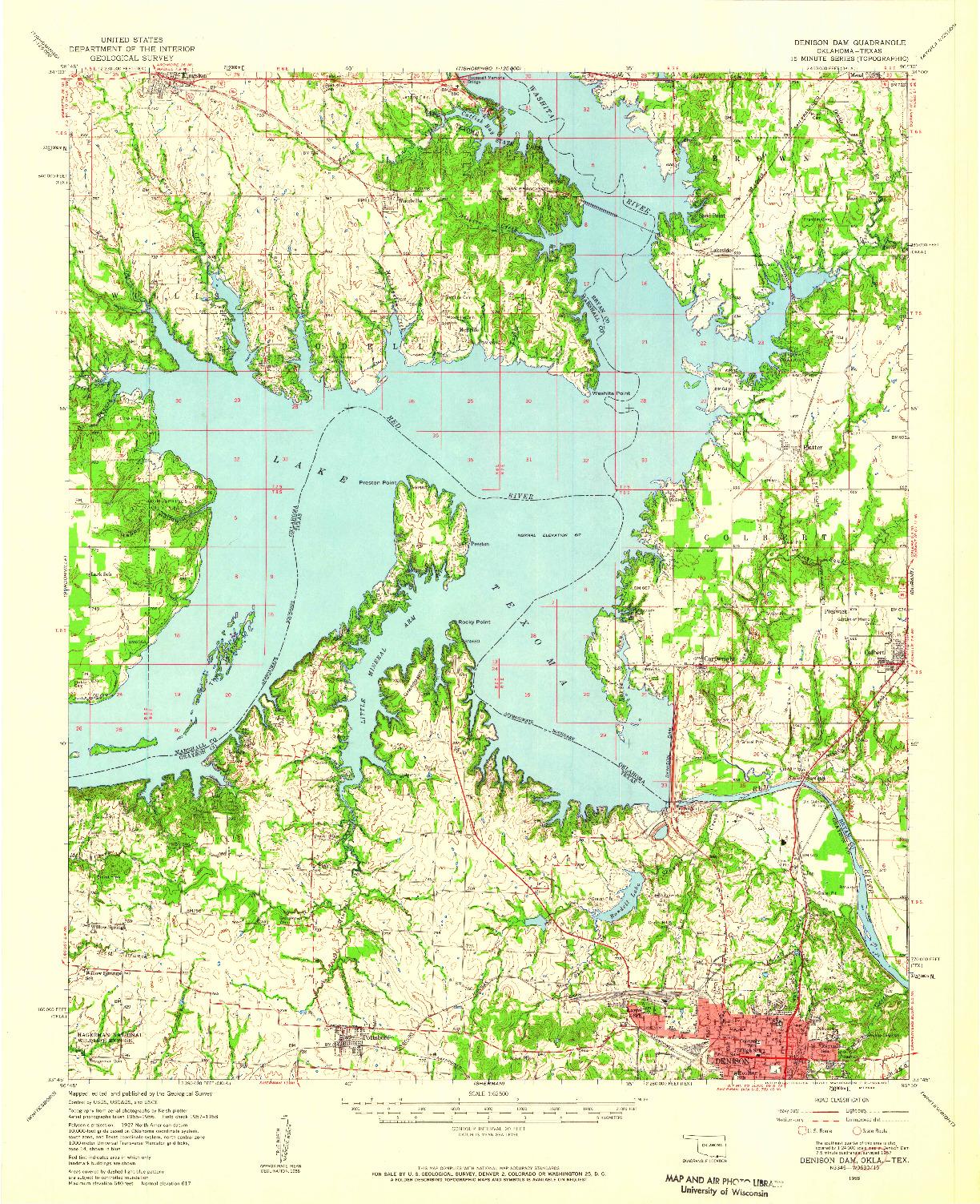 USGS 1:62500-SCALE QUADRANGLE FOR DENISON DAM, OK 1958