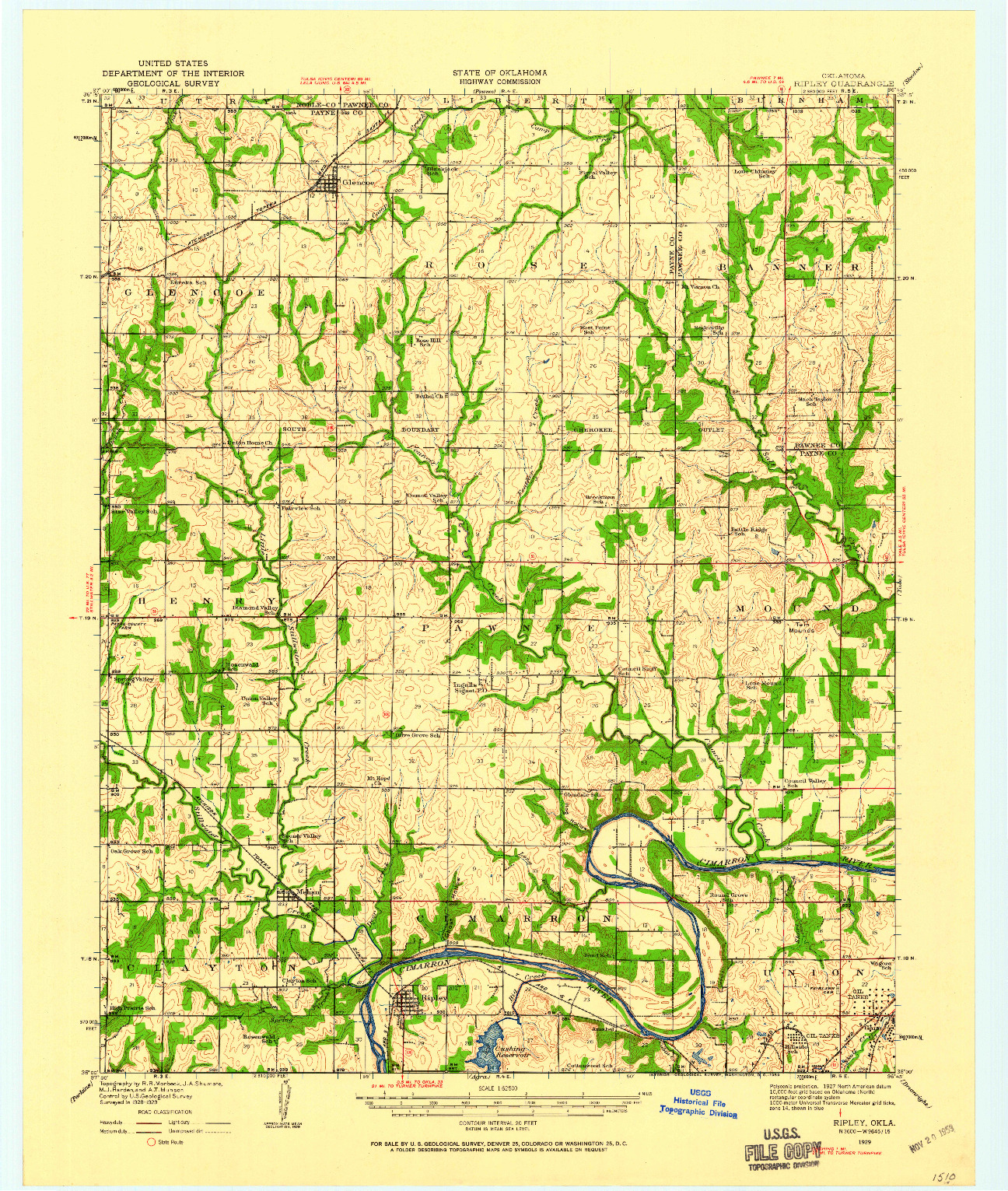 USGS 1:62500-SCALE QUADRANGLE FOR RIPLEY, OK 1929