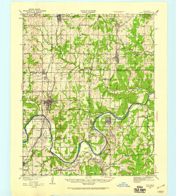 USGS 1:62500-SCALE QUADRANGLE FOR YALE, OK 1929