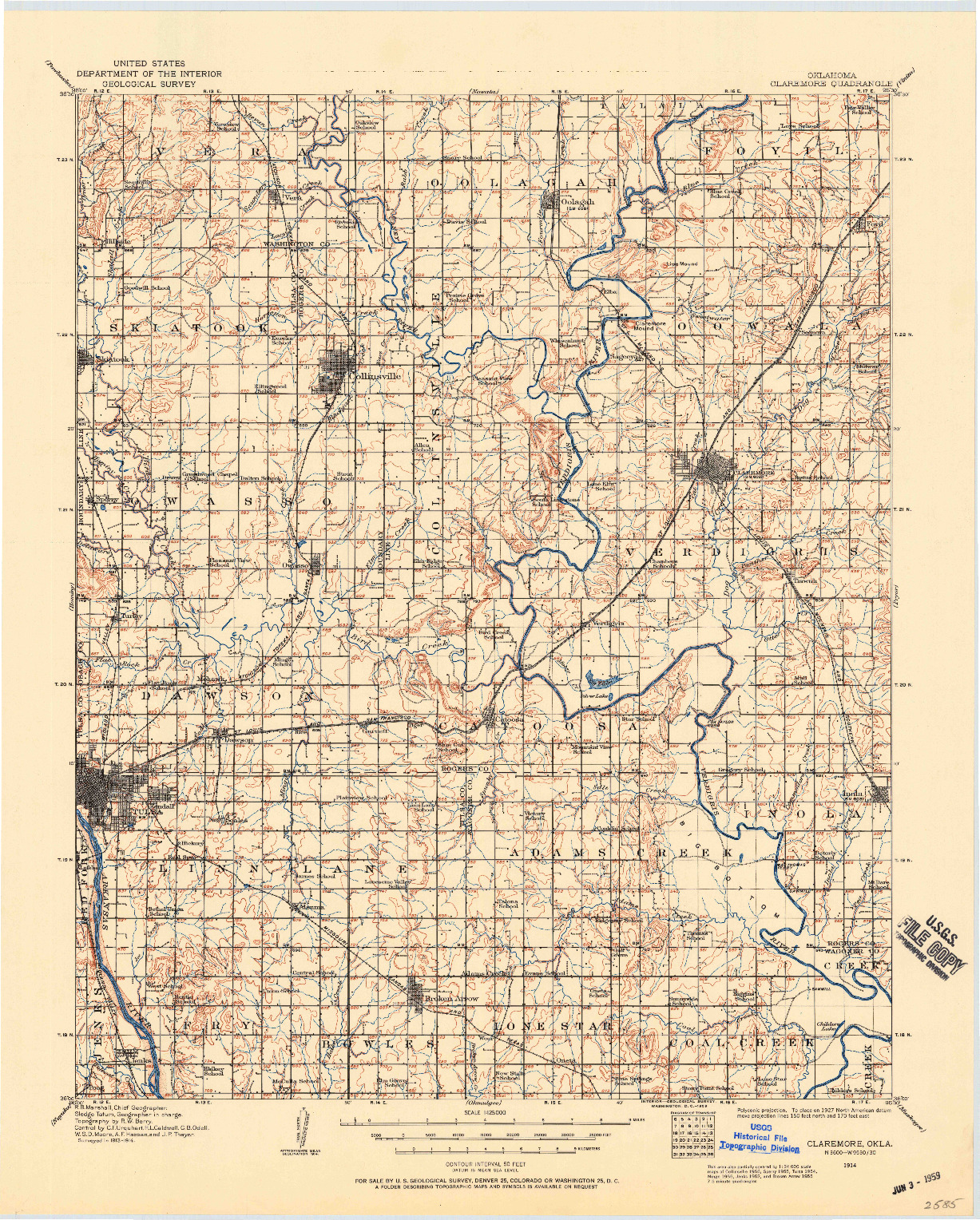 USGS 1:125000-SCALE QUADRANGLE FOR CLAREMORE, OK 1914