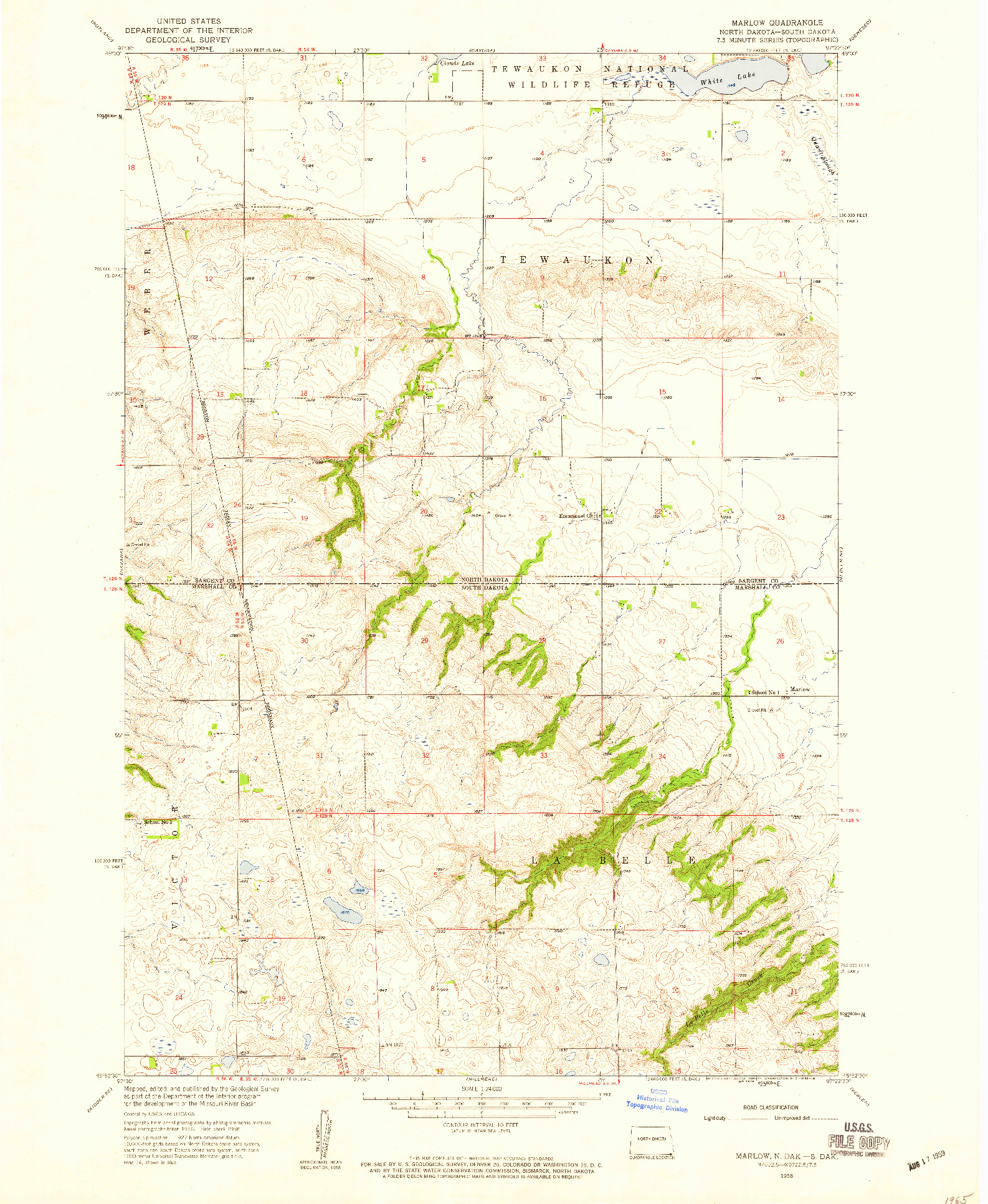 USGS 1:24000-SCALE QUADRANGLE FOR MARLOW, ND 1958