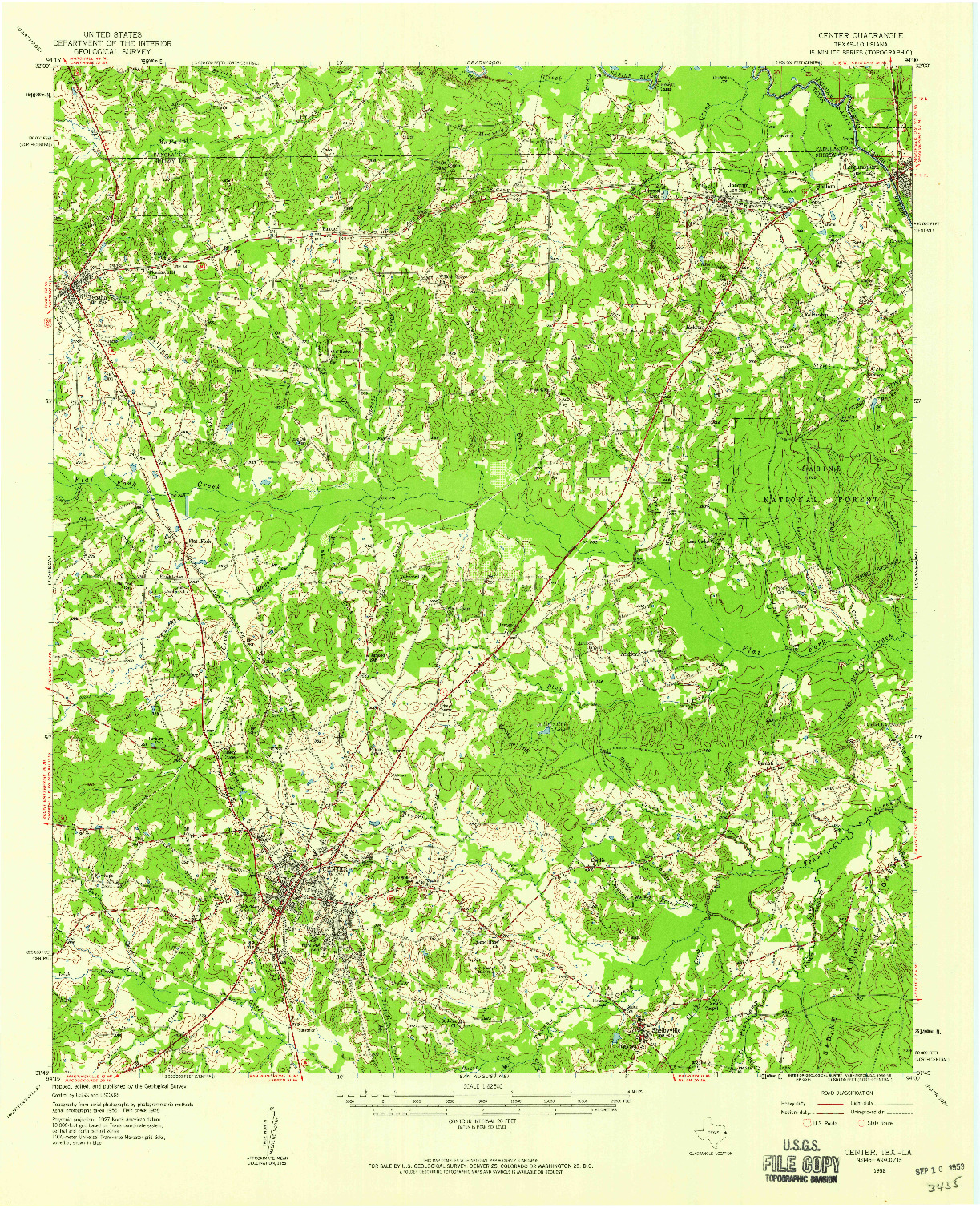 USGS 1:62500-SCALE QUADRANGLE FOR CENTER, TX 1958