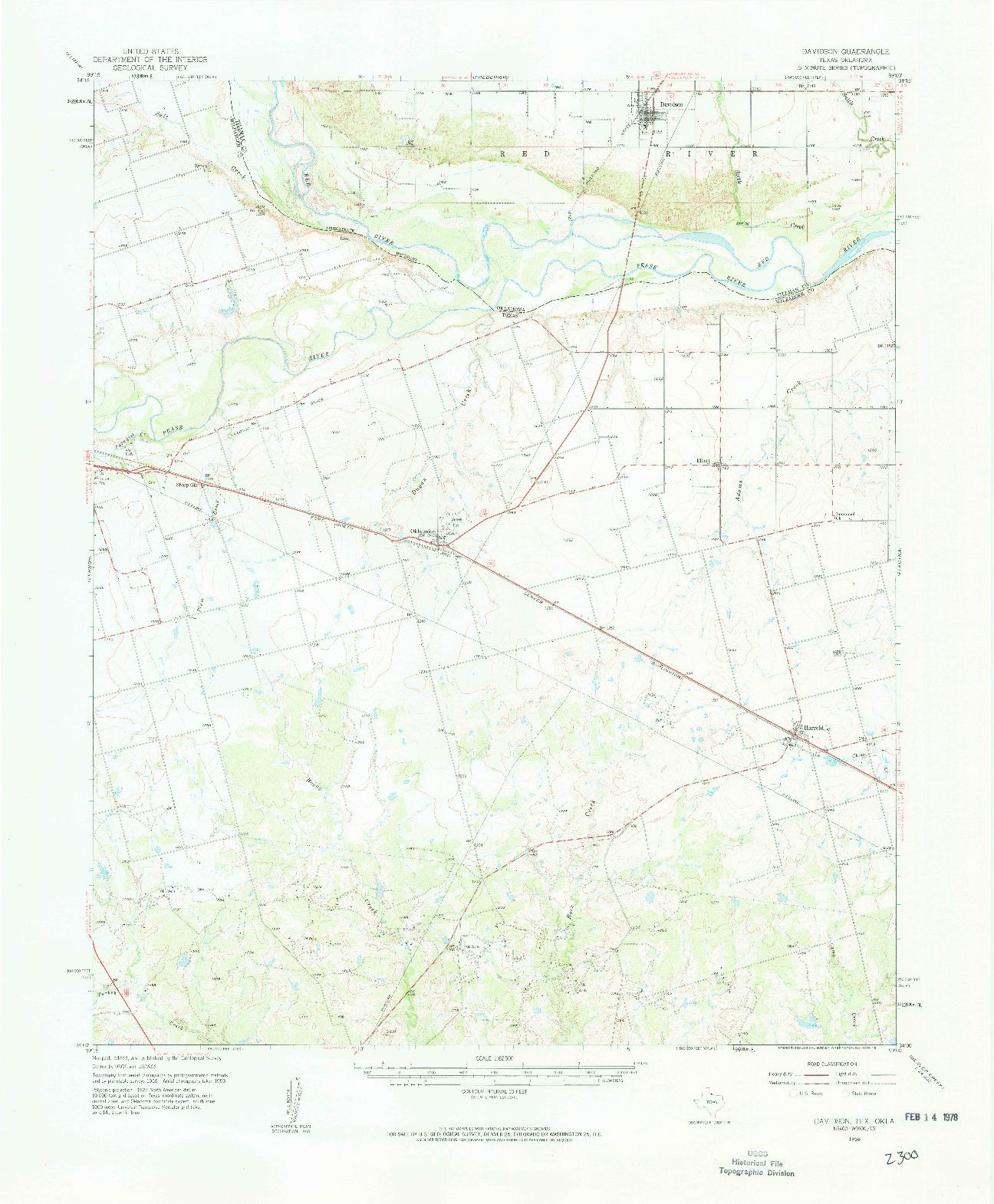 USGS 1:62500-SCALE QUADRANGLE FOR DAVIDSON, TX 1958
