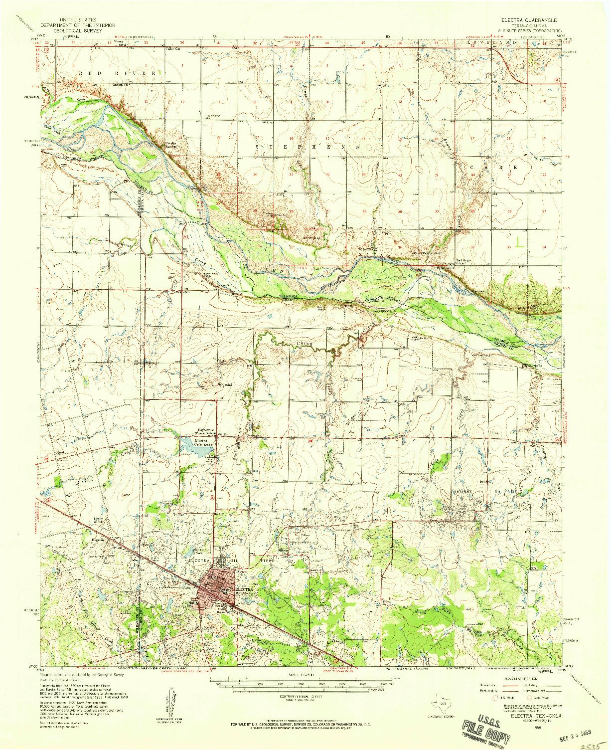 USGS 1:62500-SCALE QUADRANGLE FOR ELECTRA, TX 1958