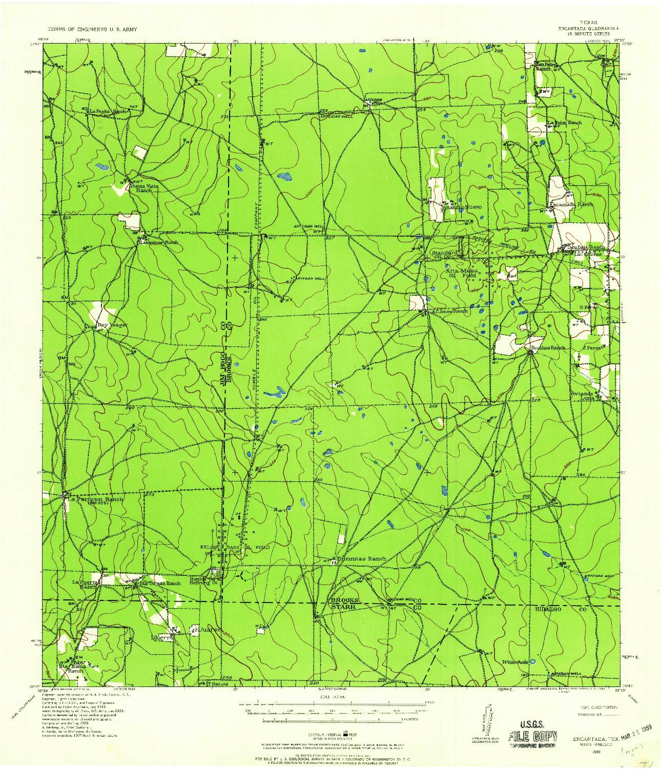 USGS 1:62500-SCALE QUADRANGLE FOR ENCANTADA, TX 1939