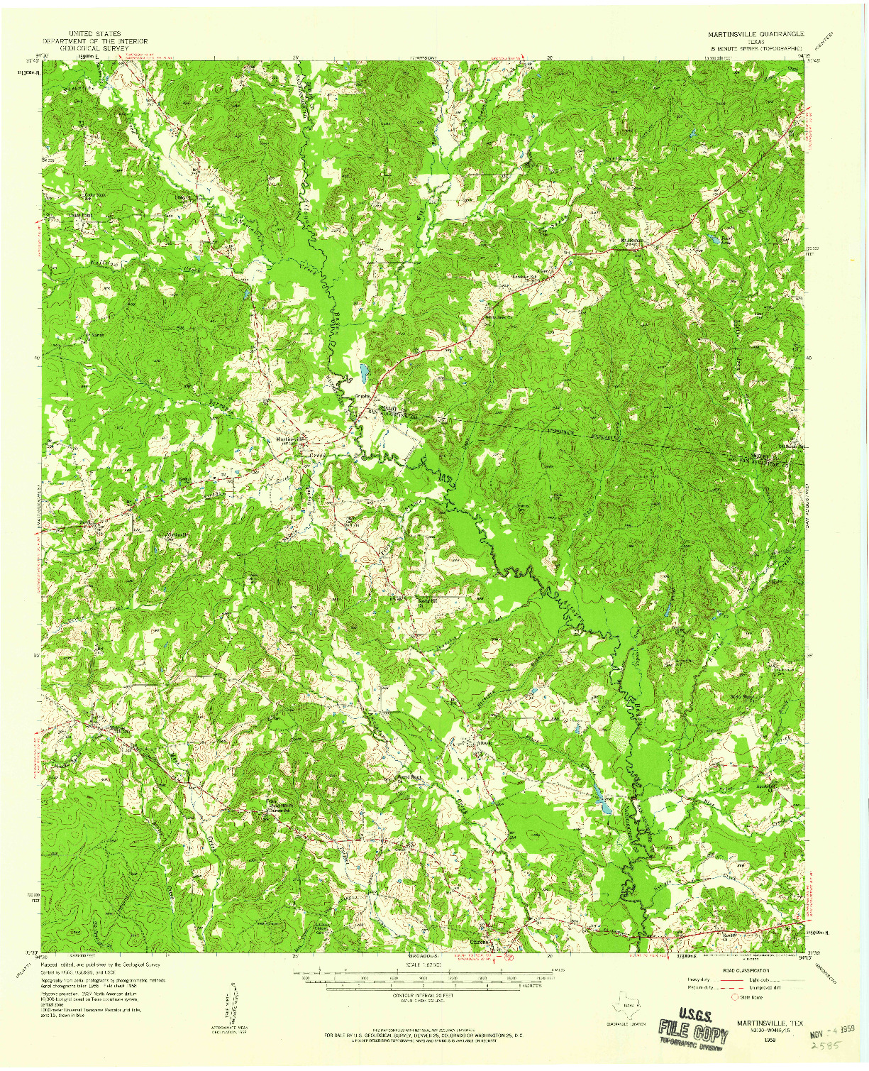 USGS 1:62500-SCALE QUADRANGLE FOR MARTINSVILLE, TX 1958