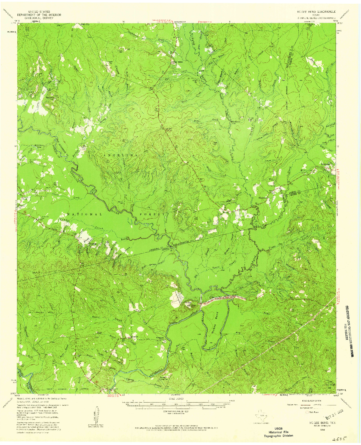 USGS 1:62500-SCALE QUADRANGLE FOR MC GEE BEND, TX 1958