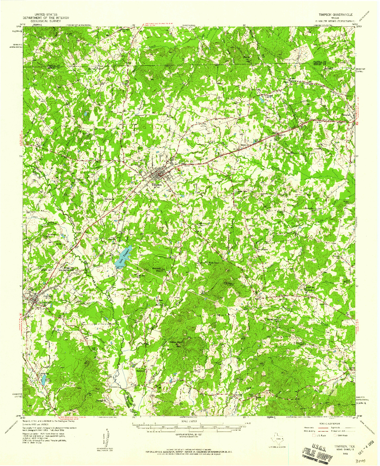 USGS 1:62500-SCALE QUADRANGLE FOR TIMPSON, TX 1958
