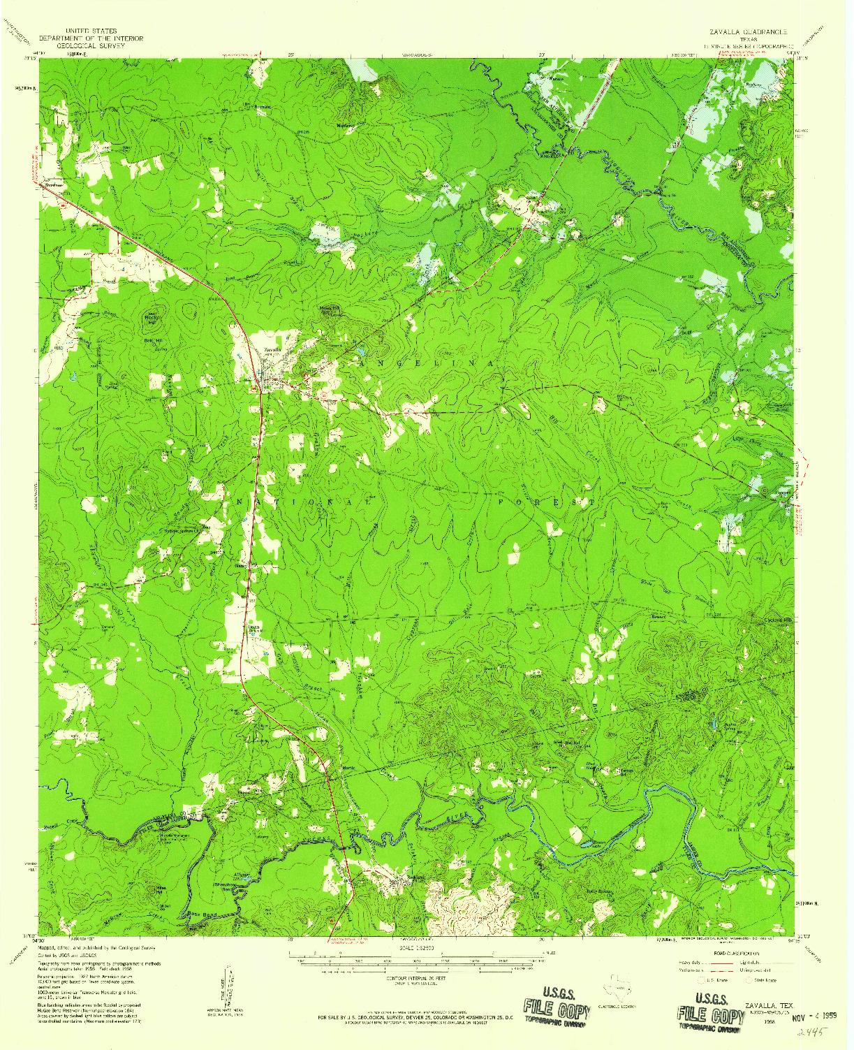 USGS 1:62500-SCALE QUADRANGLE FOR ZAVALLA, TX 1958