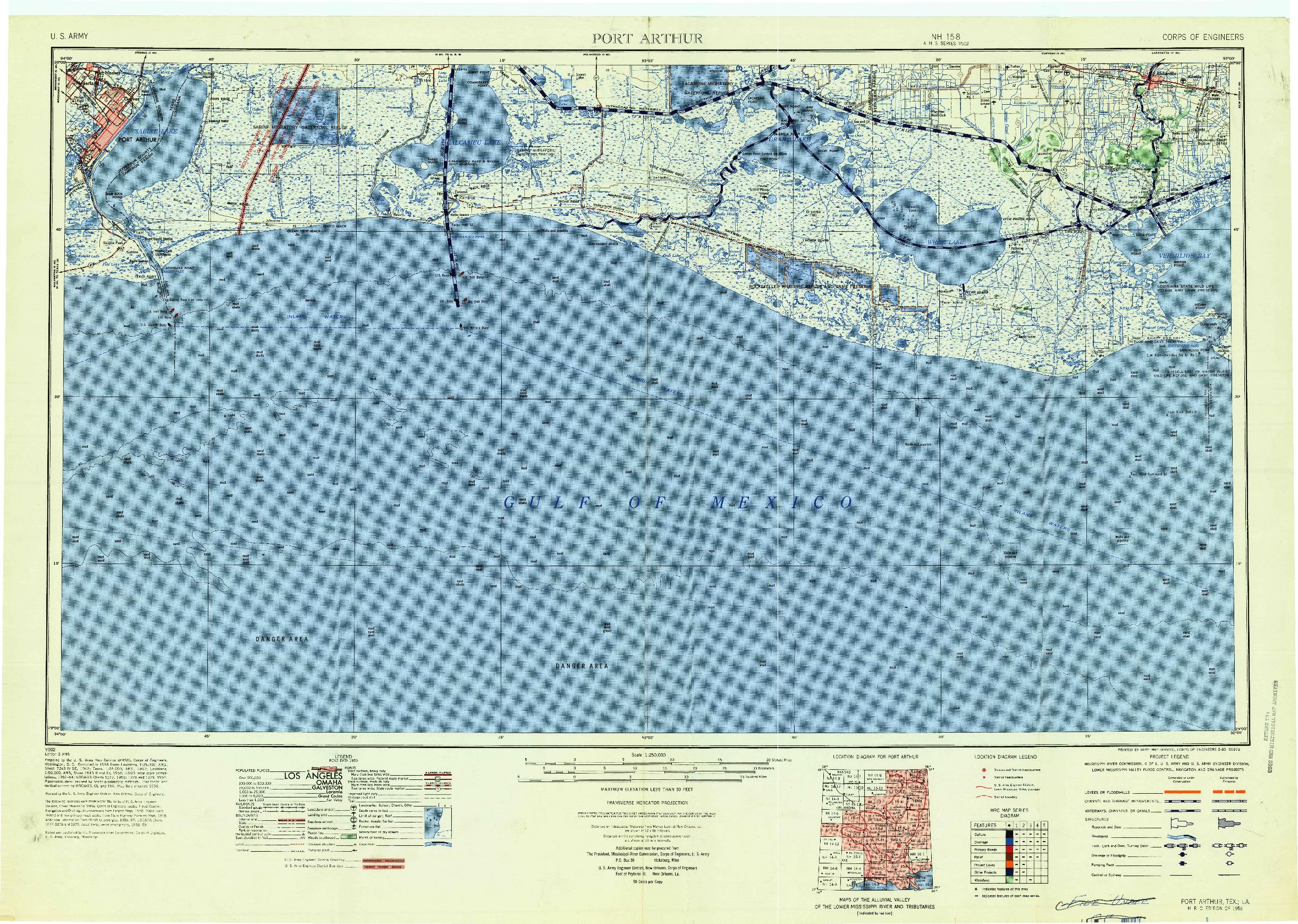 USGS 1:250000-SCALE QUADRANGLE FOR PORT ARTHUR, TX 1959