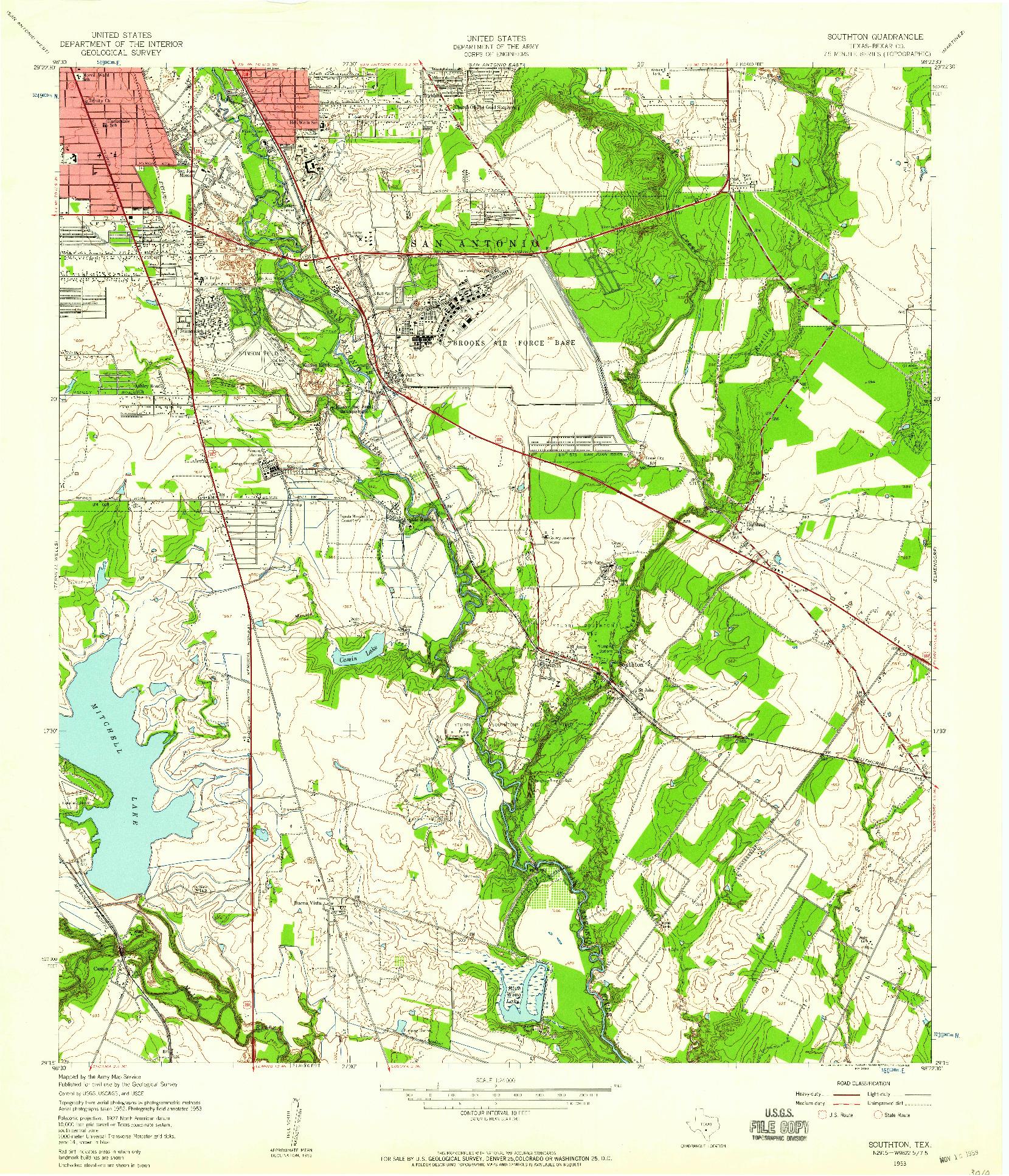 USGS 1:24000-SCALE QUADRANGLE FOR SOUTHTON, TX 1953