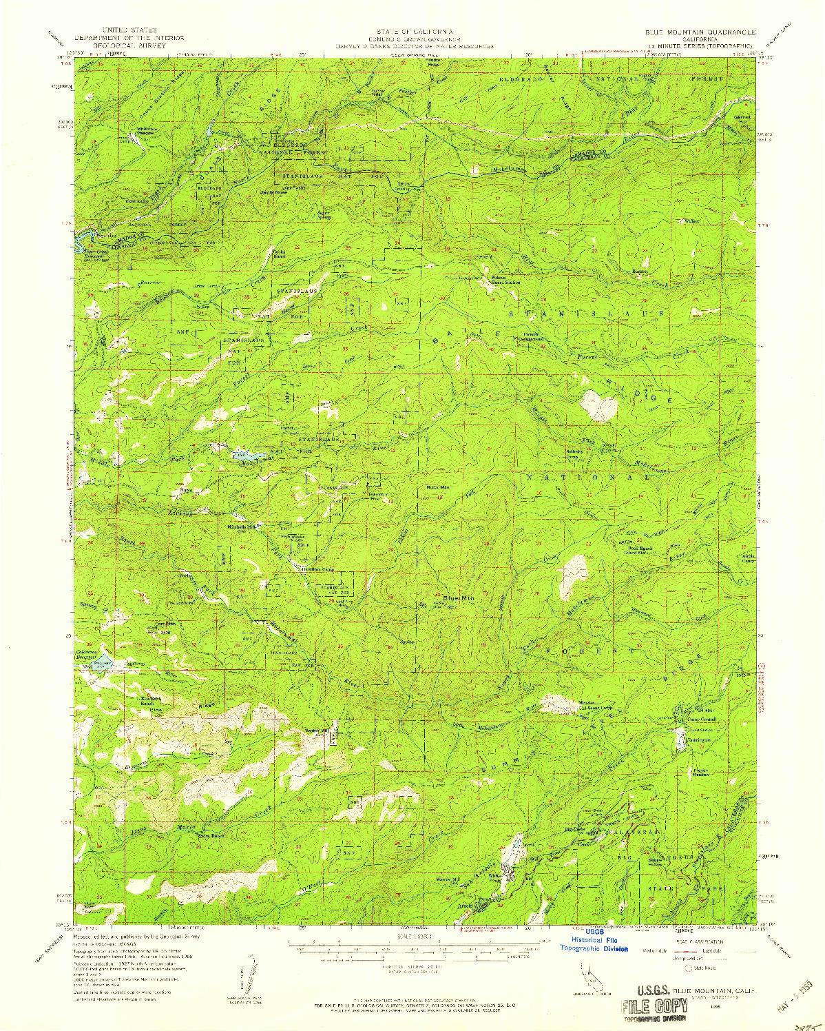 USGS 1:62500-SCALE QUADRANGLE FOR BLUE MOUNTAIN, CA 1956
