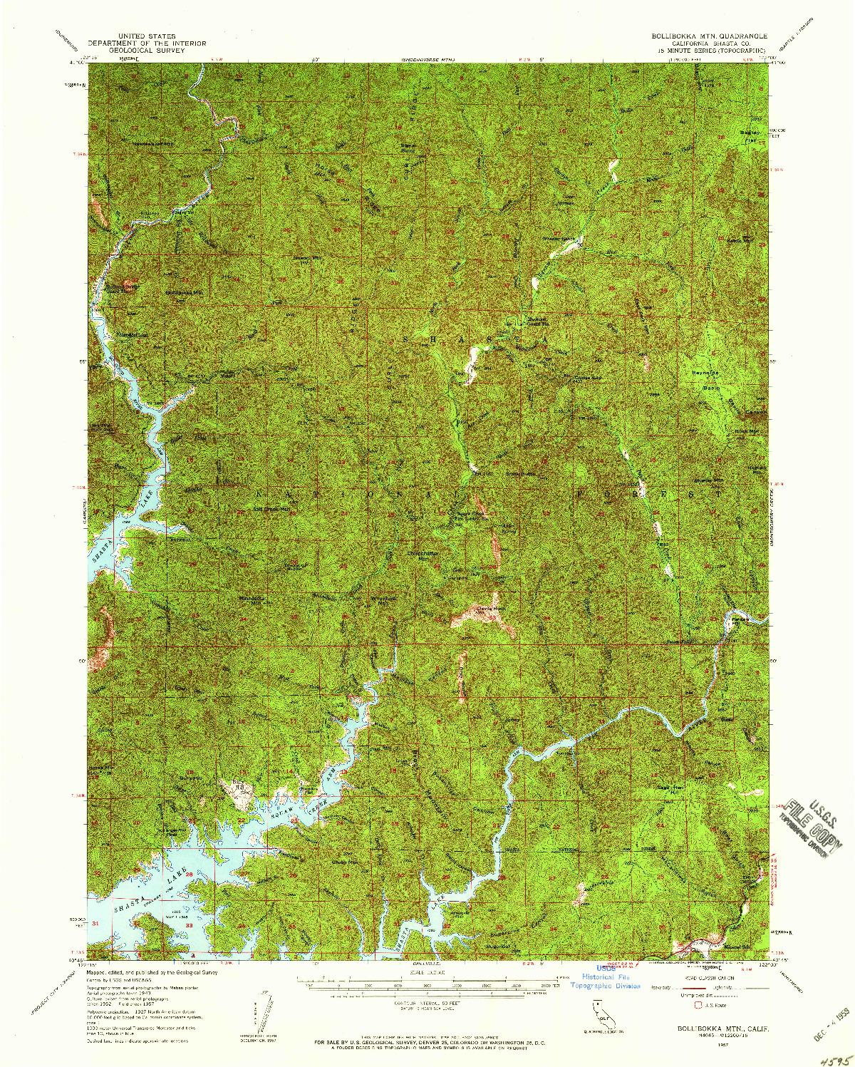 USGS 1:62500-SCALE QUADRANGLE FOR BOLLIBOKKA MTN, CA 1957