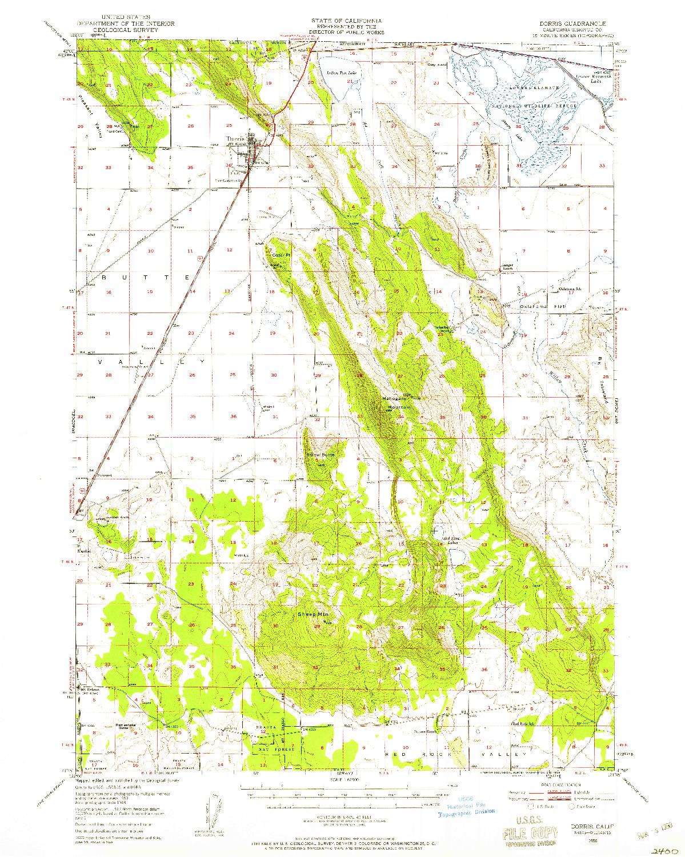 USGS 1:62500-SCALE QUADRANGLE FOR DORRIS, CA 1950