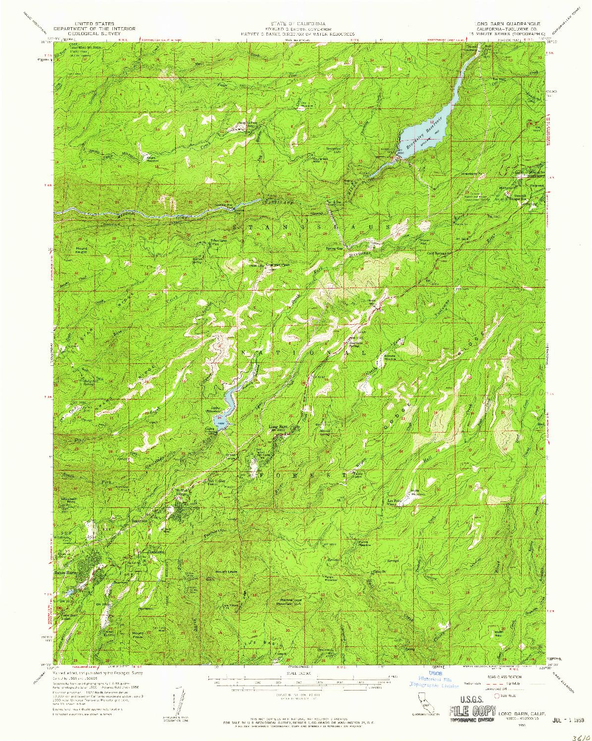 USGS 1:62500-SCALE QUADRANGLE FOR LONG BARN, CA 1956