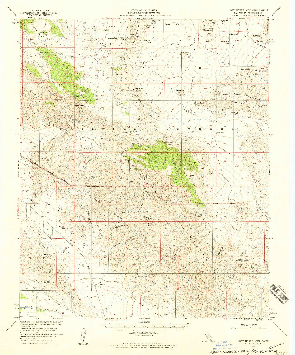 USGS 1:62500-SCALE QUADRANGLE FOR LOST HORSE MTN, CA 1958