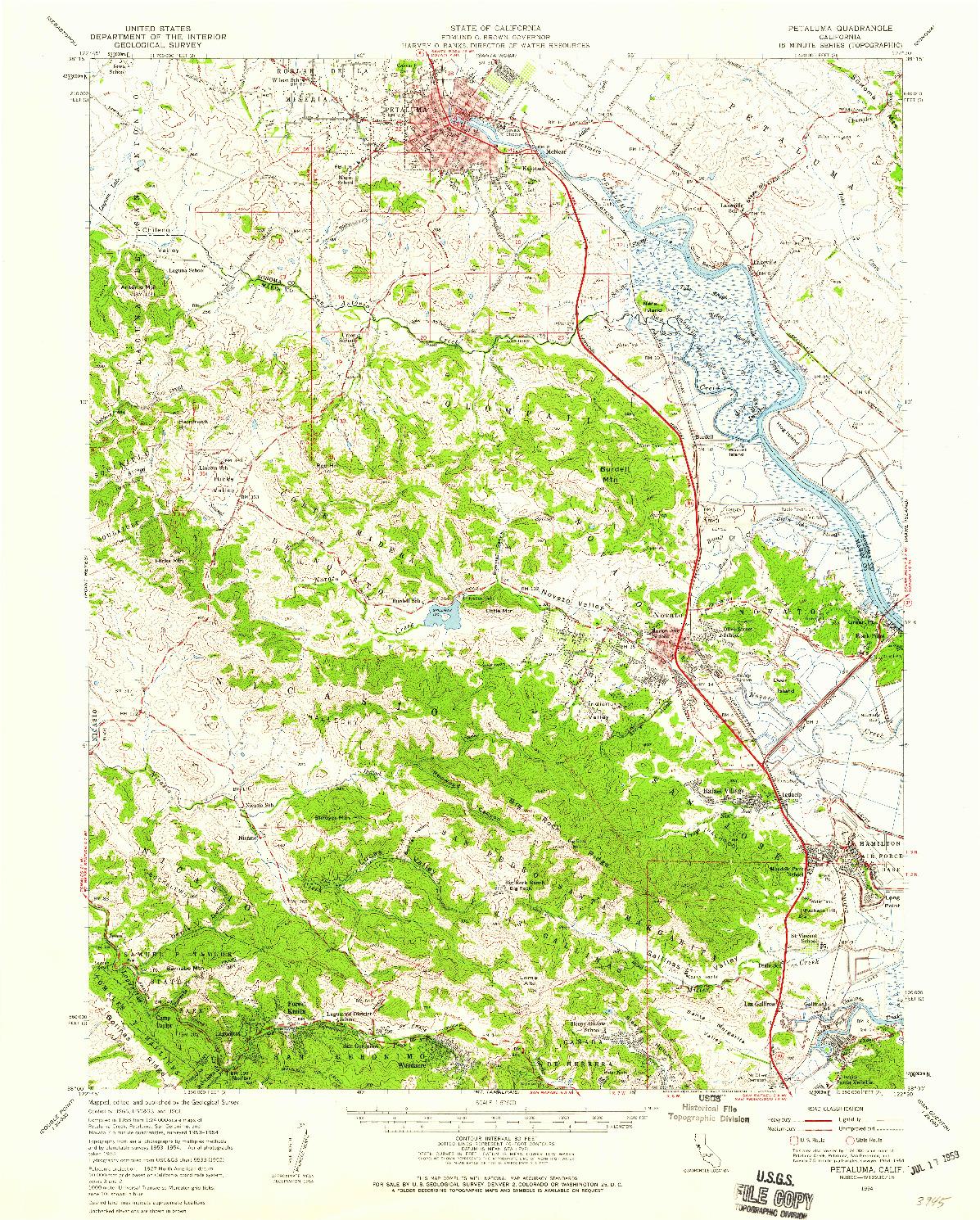 USGS 1:62500-SCALE QUADRANGLE FOR PETALUMA, CA 1954