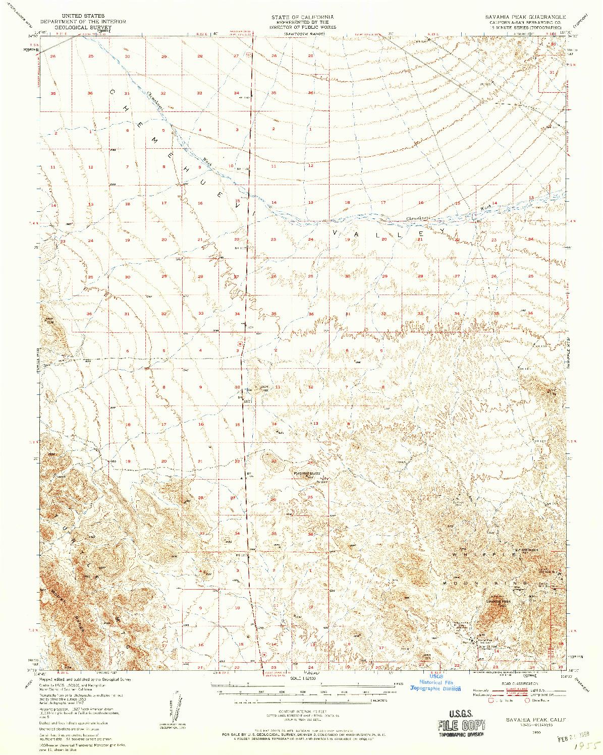 USGS 1:62500-SCALE QUADRANGLE FOR SAVAHIA PEAK, CA 1950