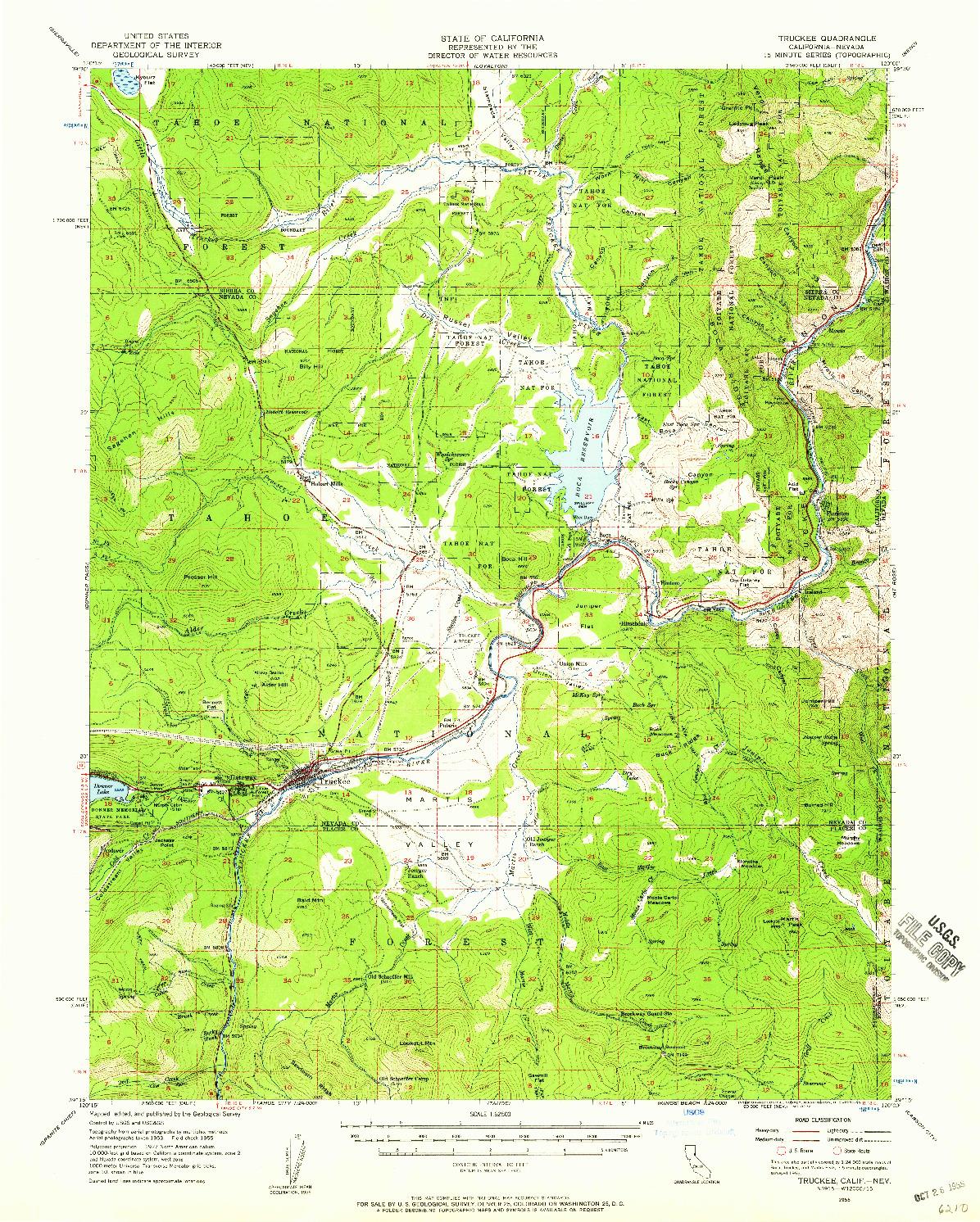 USGS 1:62500-SCALE QUADRANGLE FOR TRUCKEE, CA 1955