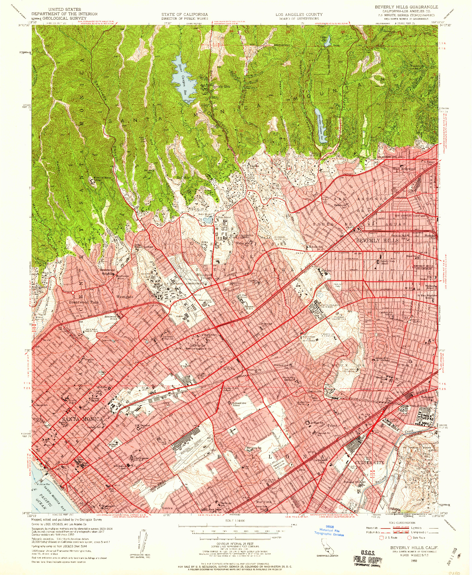 USGS 1:24000-SCALE QUADRANGLE FOR BEVERLY HILLS, CA 1950