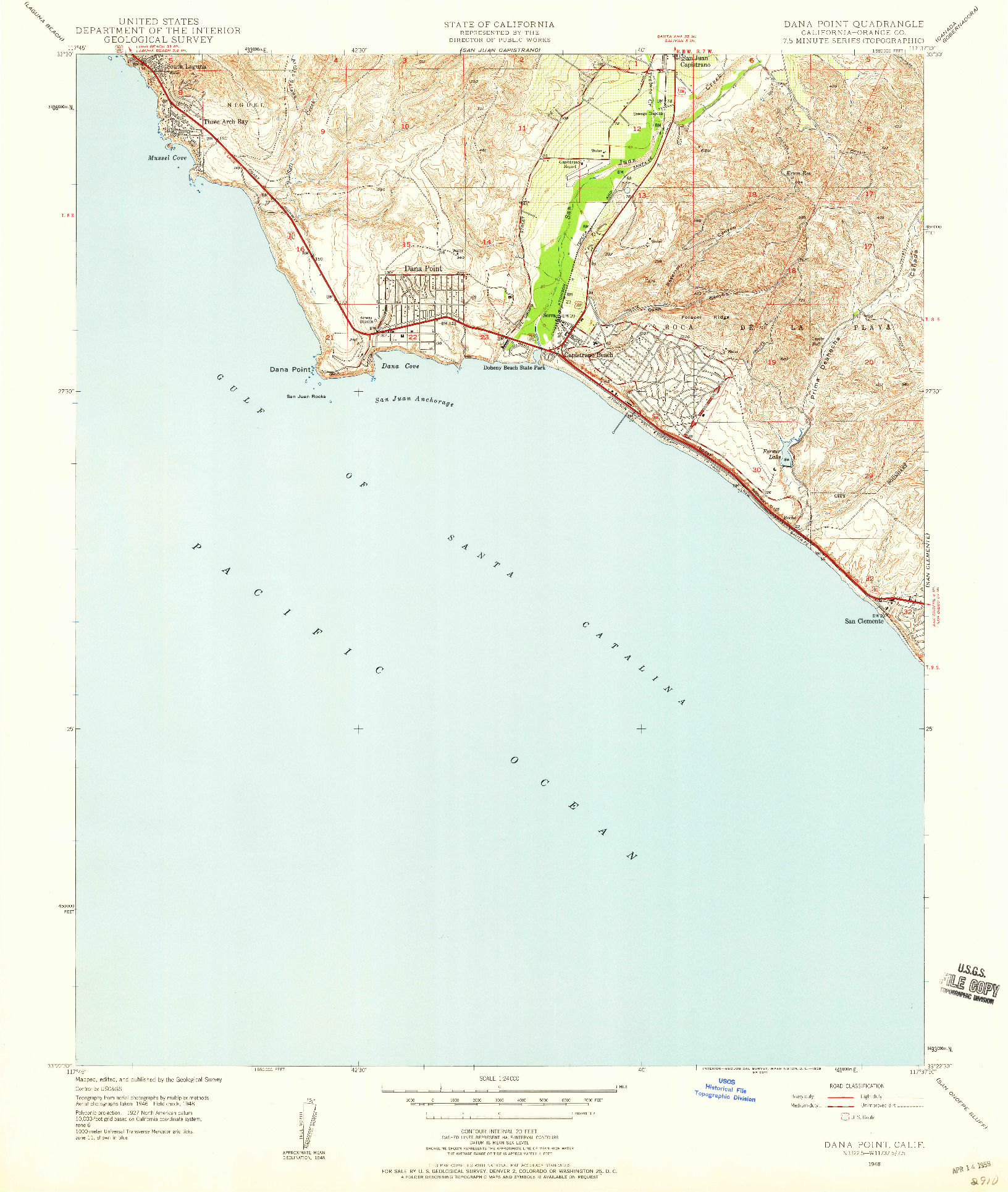 USGS 1:24000-SCALE QUADRANGLE FOR DANA POINT, CA 1948
