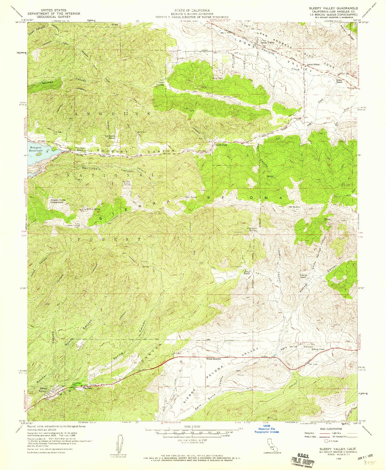 USGS 1:24000-SCALE QUADRANGLE FOR SLEEPY VALLEY, CA 1958