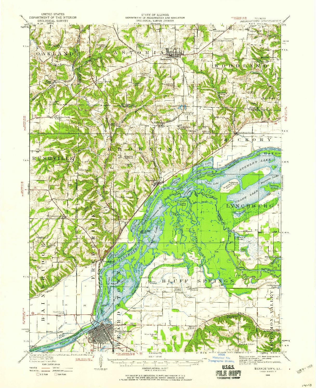 USGS 1:62500-SCALE QUADRANGLE FOR BEARDSTOWN, IL 1944