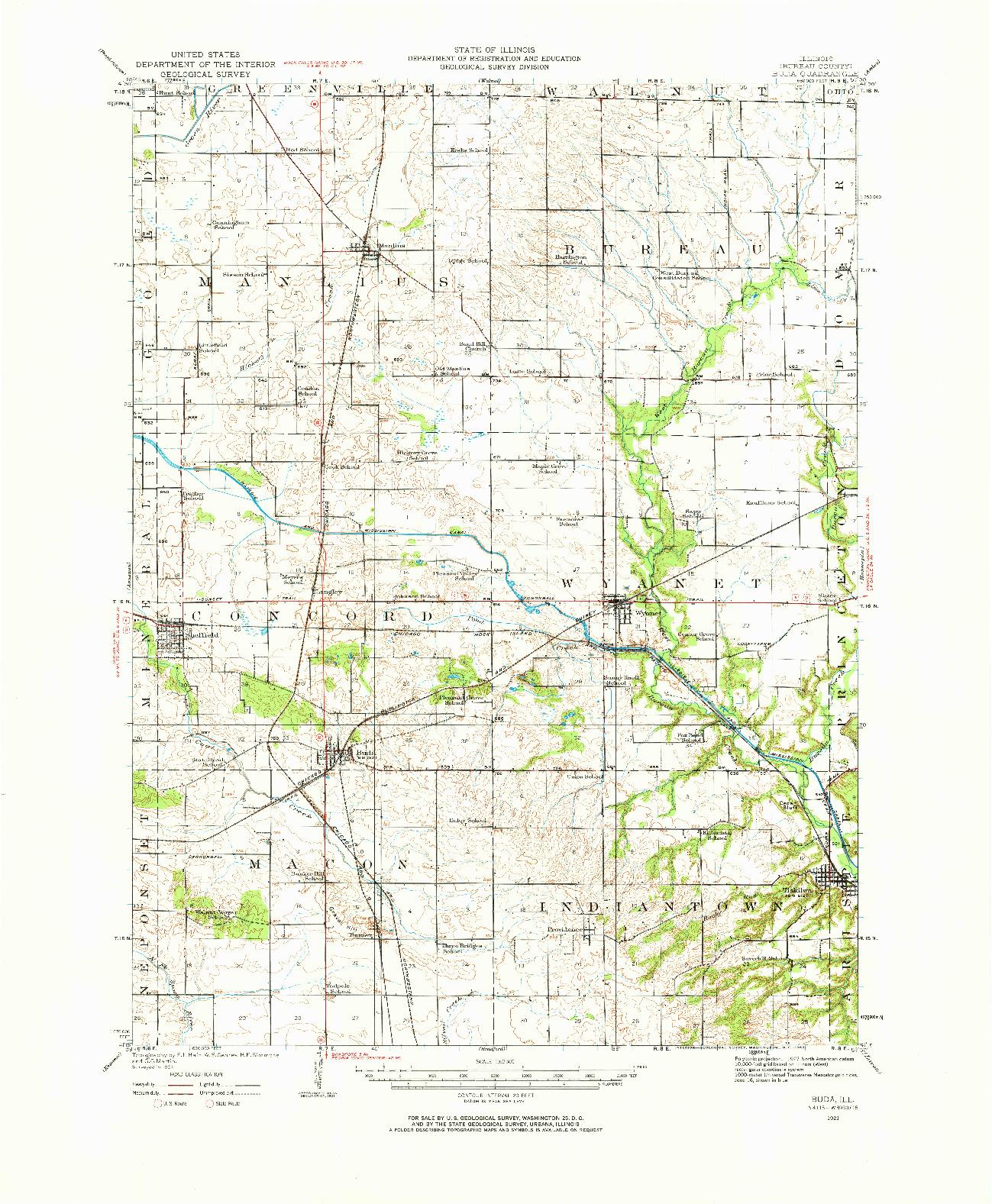 USGS 1:62500-SCALE QUADRANGLE FOR BUDA, IL 1921