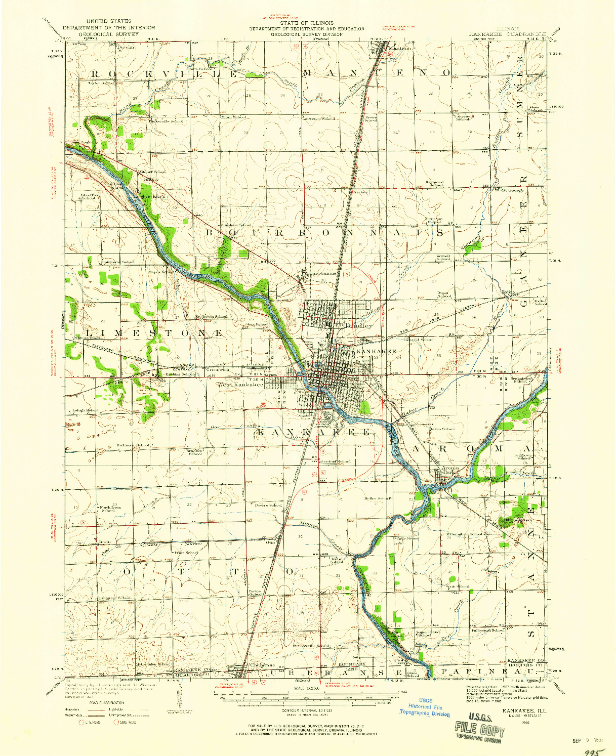 USGS 1:62500-SCALE QUADRANGLE FOR KANKAKEE, IL 1922