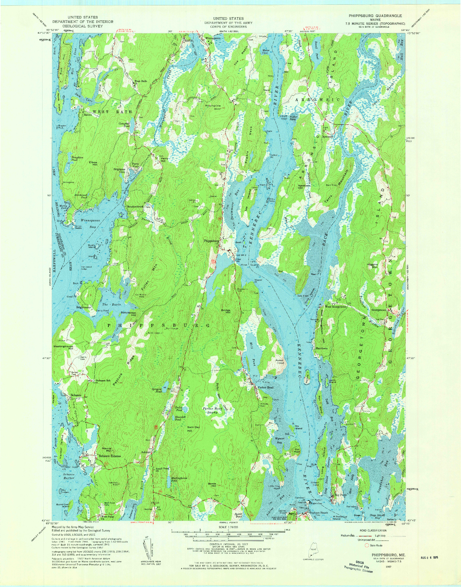 USGS 1:24000-SCALE QUADRANGLE FOR PHIPPSBURG, ME 1957