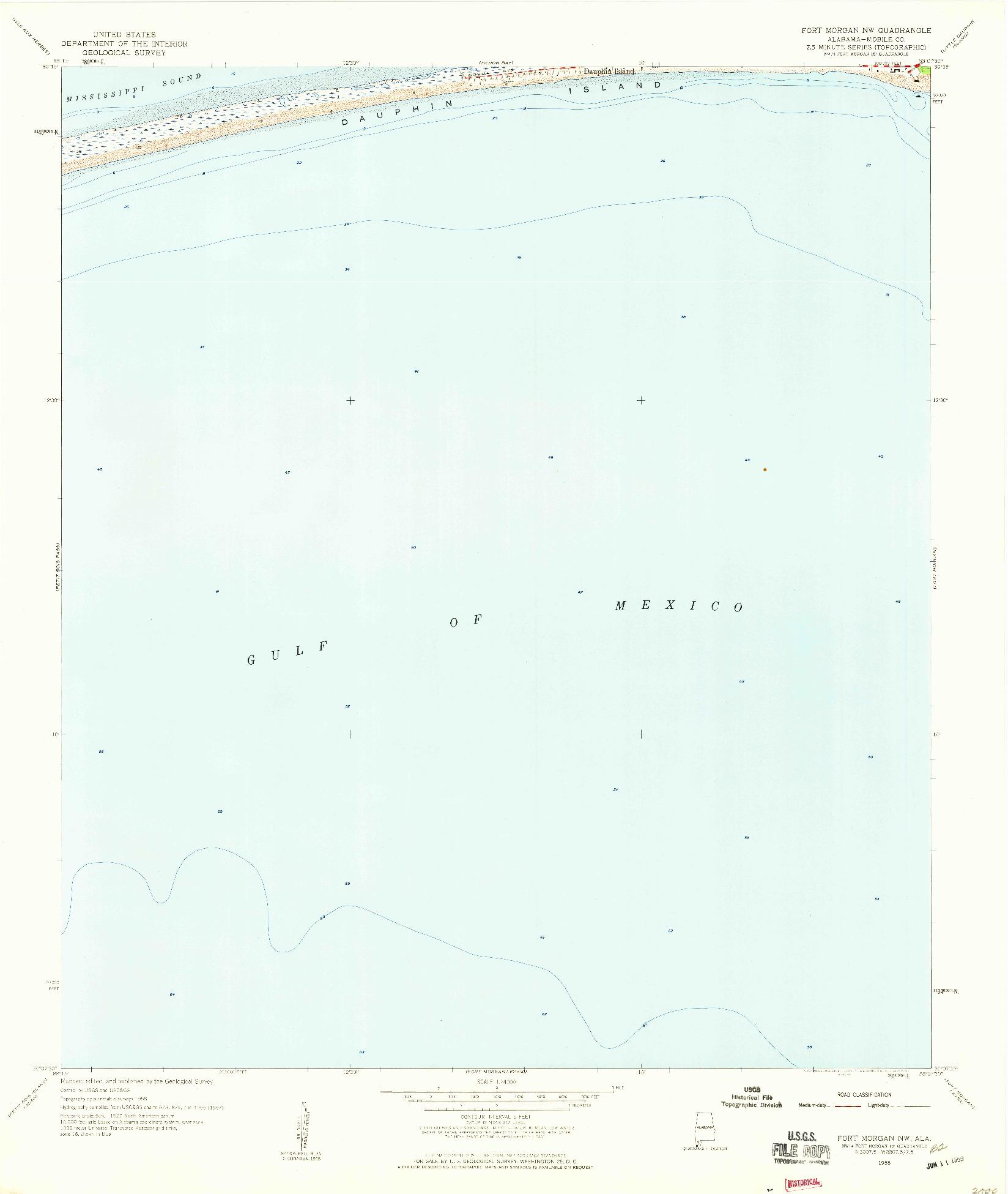 USGS 1:24000-SCALE QUADRANGLE FOR FORT MORGAN NW, AL 1958