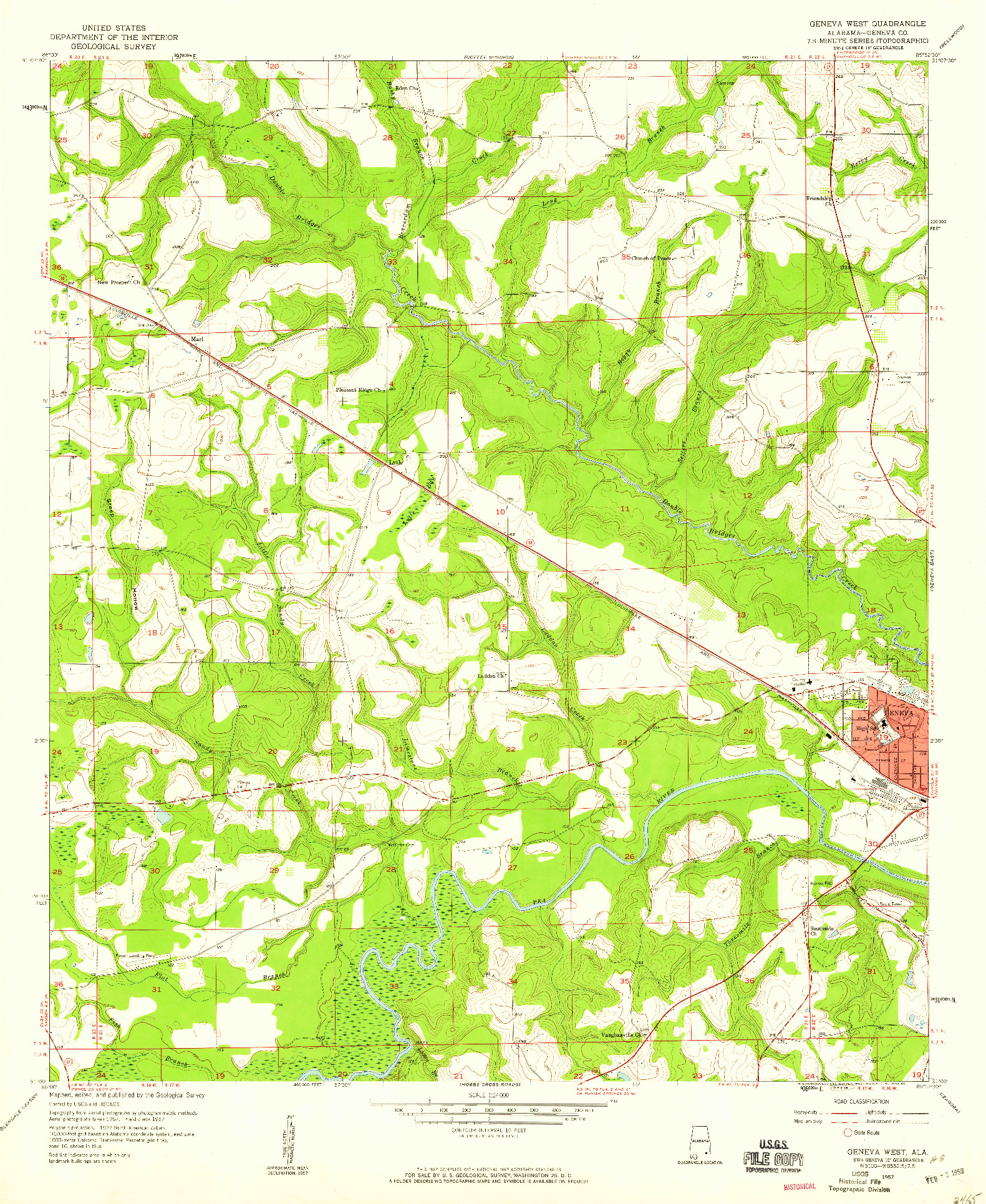 USGS 1:24000-SCALE QUADRANGLE FOR GENEVA WEST, AL 1957
