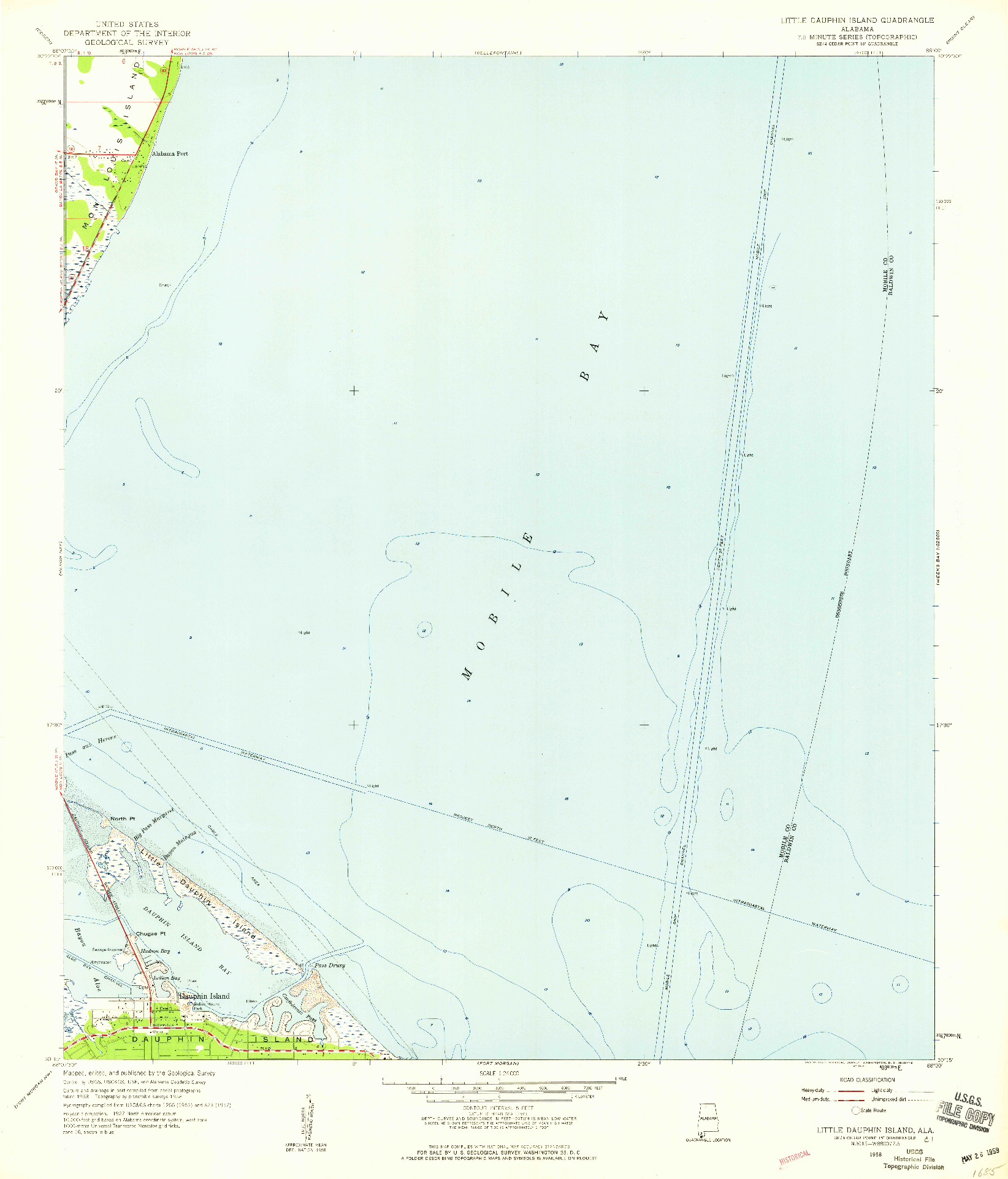 USGS 1:24000-SCALE QUADRANGLE FOR LITTLE DAUPHIN ISLAND, AL 1958