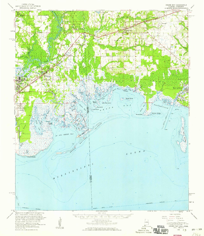 USGS 1:62500-SCALE QUADRANGLE FOR GRAND BAY, AL 1958