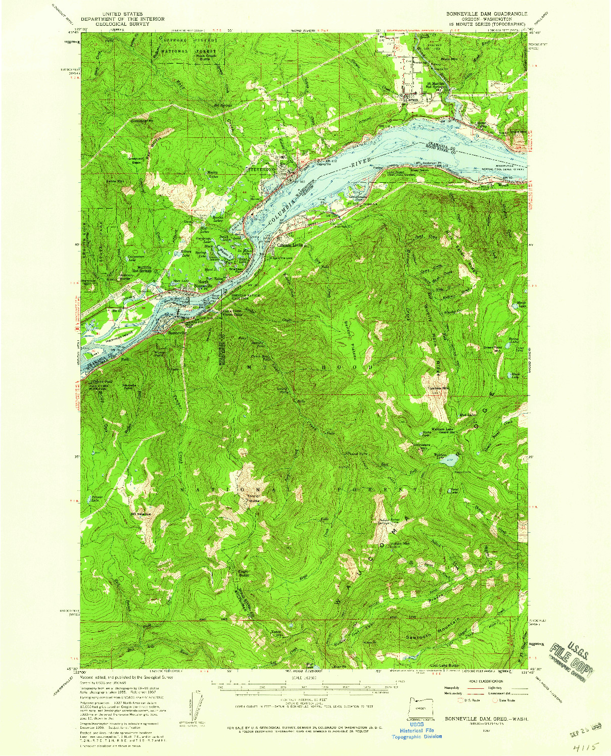 USGS 1:62500-SCALE QUADRANGLE FOR BONNEVILLE DAM, OR 1957