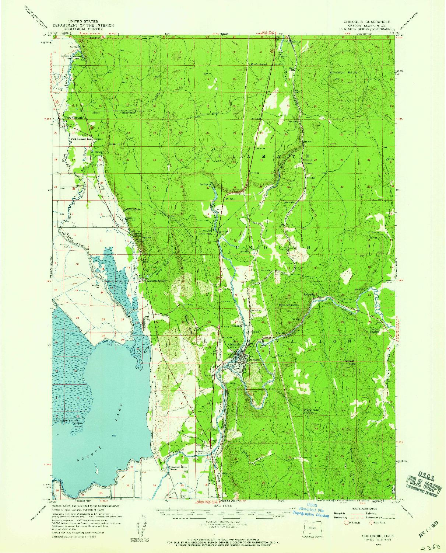 USGS 1:62500-SCALE QUADRANGLE FOR CHILOQUIN, OR 1957