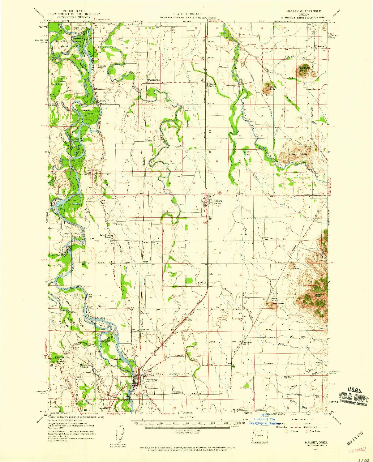 USGS 1:62500-SCALE QUADRANGLE FOR HALSEY, OR 1957