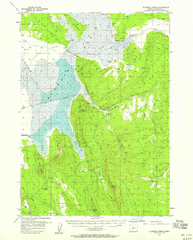 USGS 1:62500-SCALE QUADRANGLE FOR KLAMATH MARSH, OR 1957