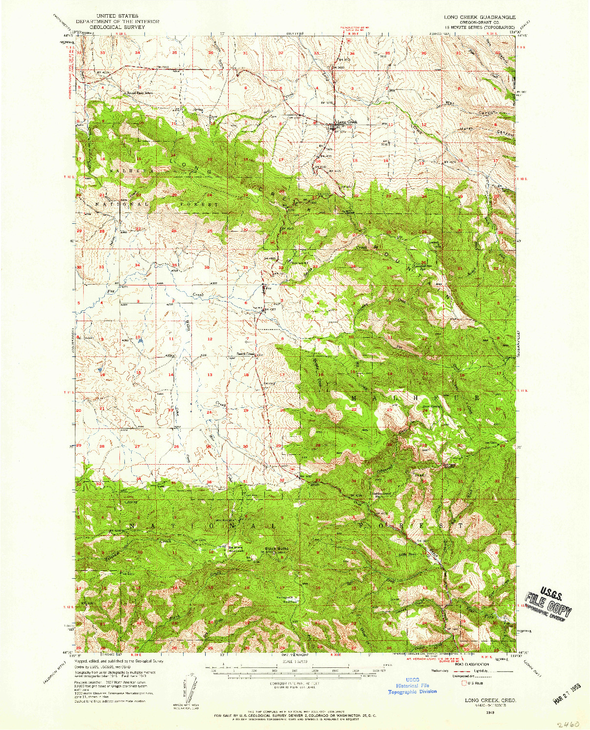 USGS 1:62500-SCALE QUADRANGLE FOR LONG CREEK, OR 1949
