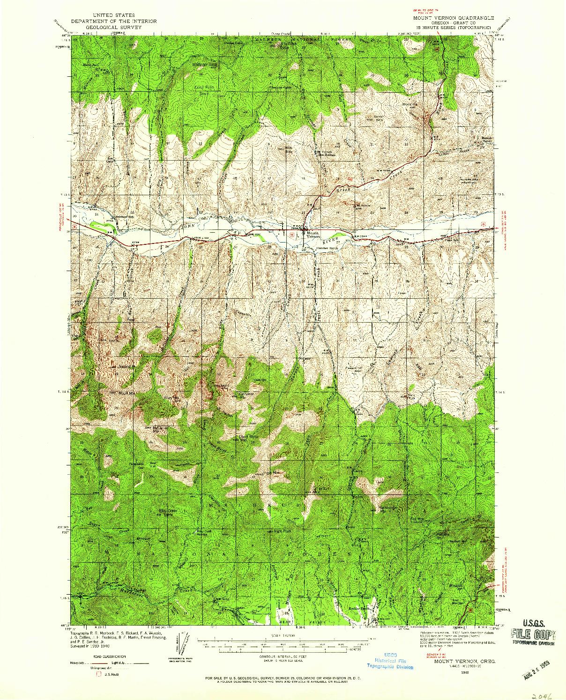 USGS 1:62500-SCALE QUADRANGLE FOR MOUNT VERNON, OR 1940