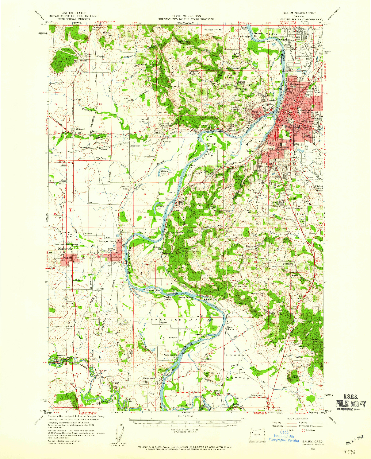 USGS 1:62500-SCALE QUADRANGLE FOR SALEM, OR 1957