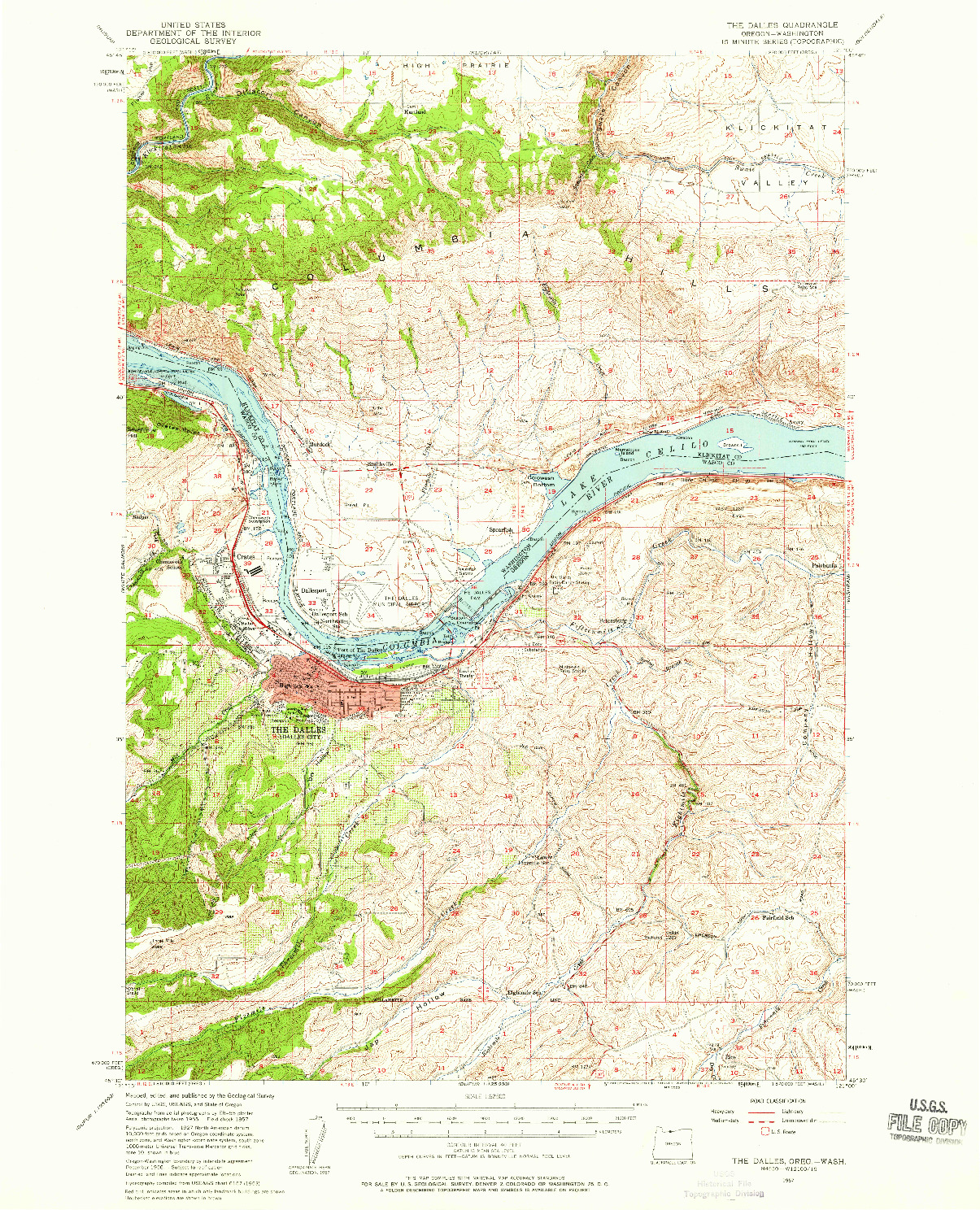 USGS 1:62500-SCALE QUADRANGLE FOR THE DALLES, OR 1957