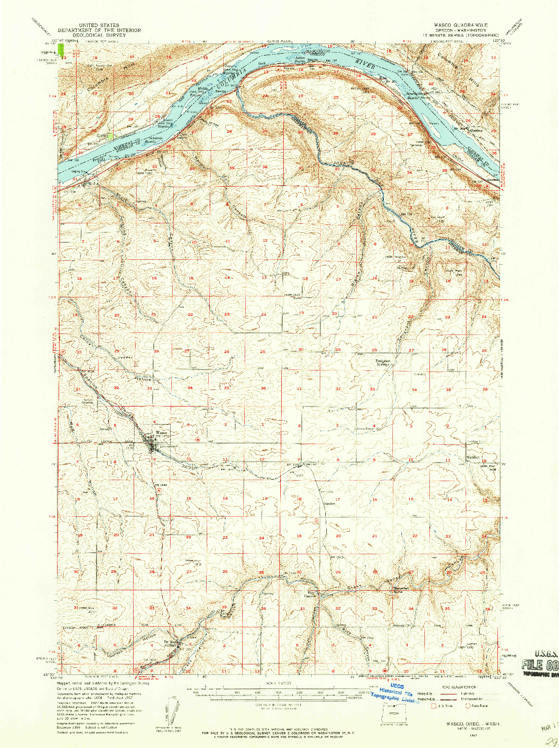 USGS 1:62500-SCALE QUADRANGLE FOR WASCO, OR 1957