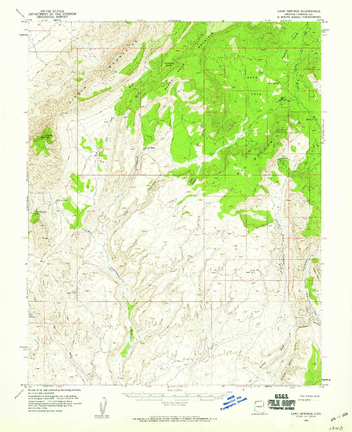 USGS 1:62500-SCALE QUADRANGLE FOR CANE SPRINGS, AZ 1954