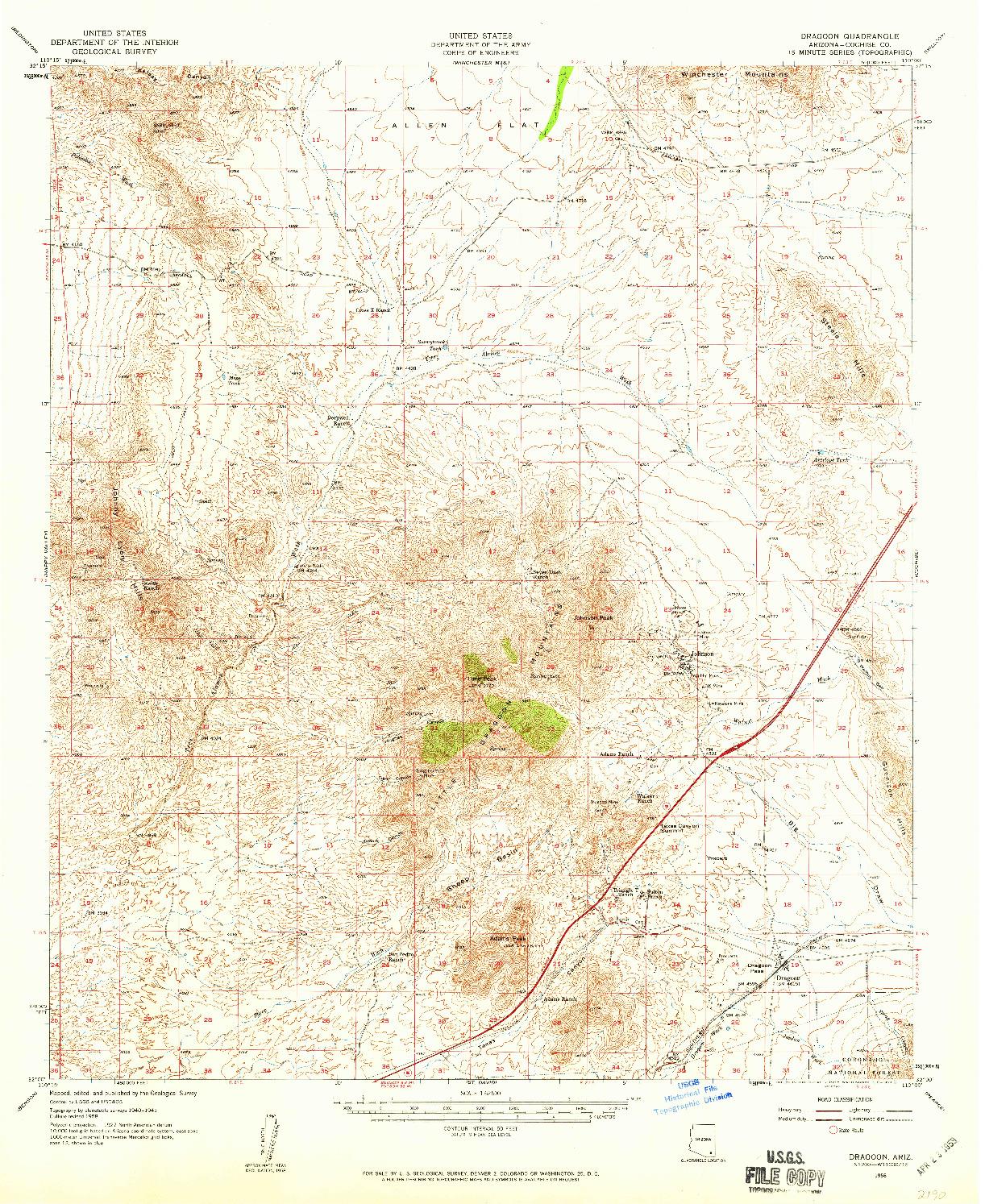 USGS 1:62500-SCALE QUADRANGLE FOR DRAGOON, AZ 1958