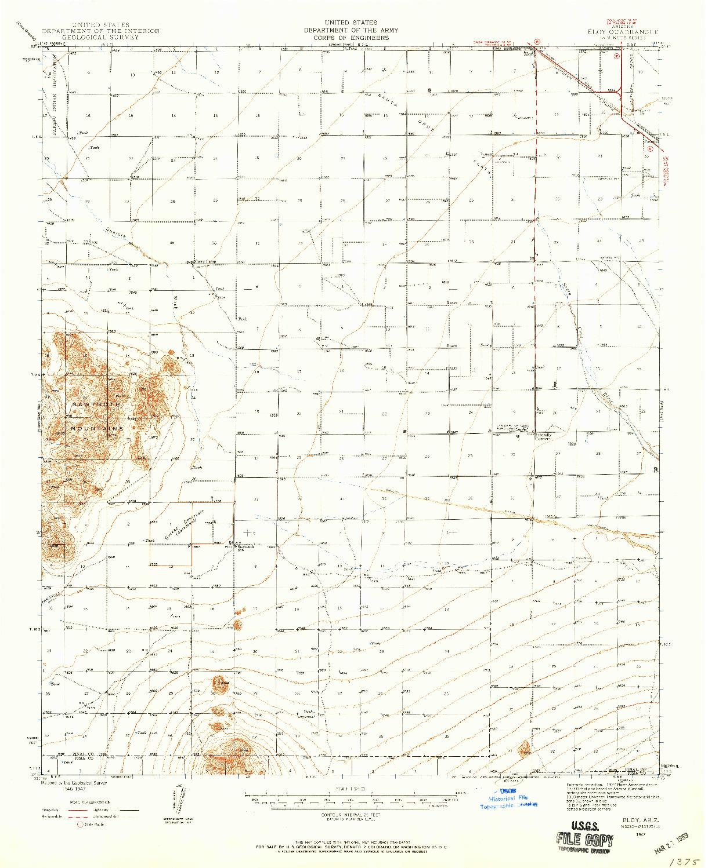 USGS 1:62500-SCALE QUADRANGLE FOR ELOY, AZ 1947