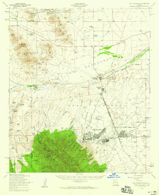 USGS 1:62500-SCALE QUADRANGLE FOR FORT HUACHUCA, AZ 1958