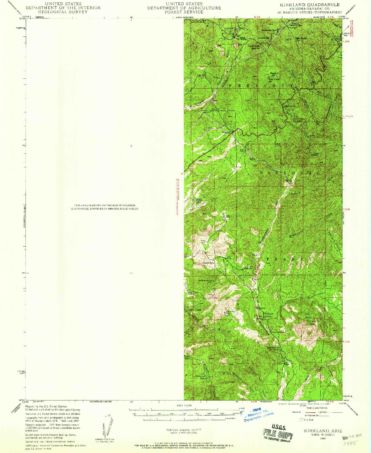 USGS 1:62500-SCALE QUADRANGLE FOR KIRKLAND, AZ 1947